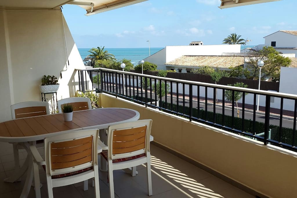 Amazing views of the sea.  The house has a big terrace (21m2) with outdoor table.