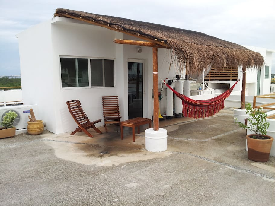 Rooftop terrace palapa and hammock. please enjoy!