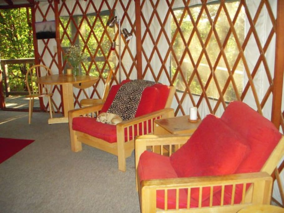 As much a nature blind as a dwelling, the Yuba Yurt at RiverSea East boasts 706 square feet of comfortable living space...