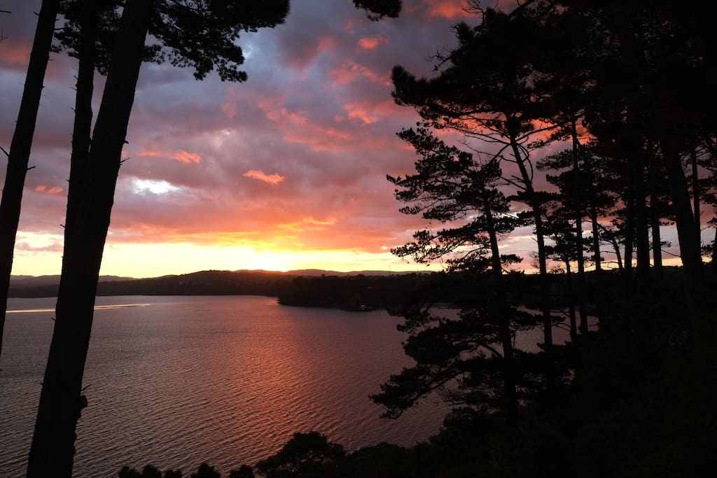 Enjoy sunsets over the Waitakere Ranges which is just minutes behind our street.