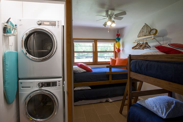 The crews quarters, with 4 twin beds and a full size washer and dryer.