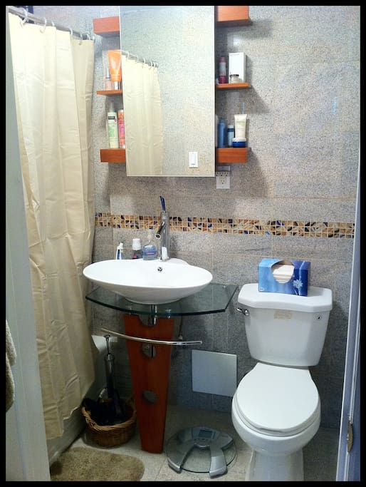 Clean, newly-remodeled bathroom with all new amentites. Shower & bath.
