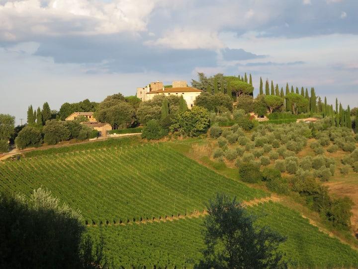 Deluxe room in hilltop Villa, overlooking Chianti