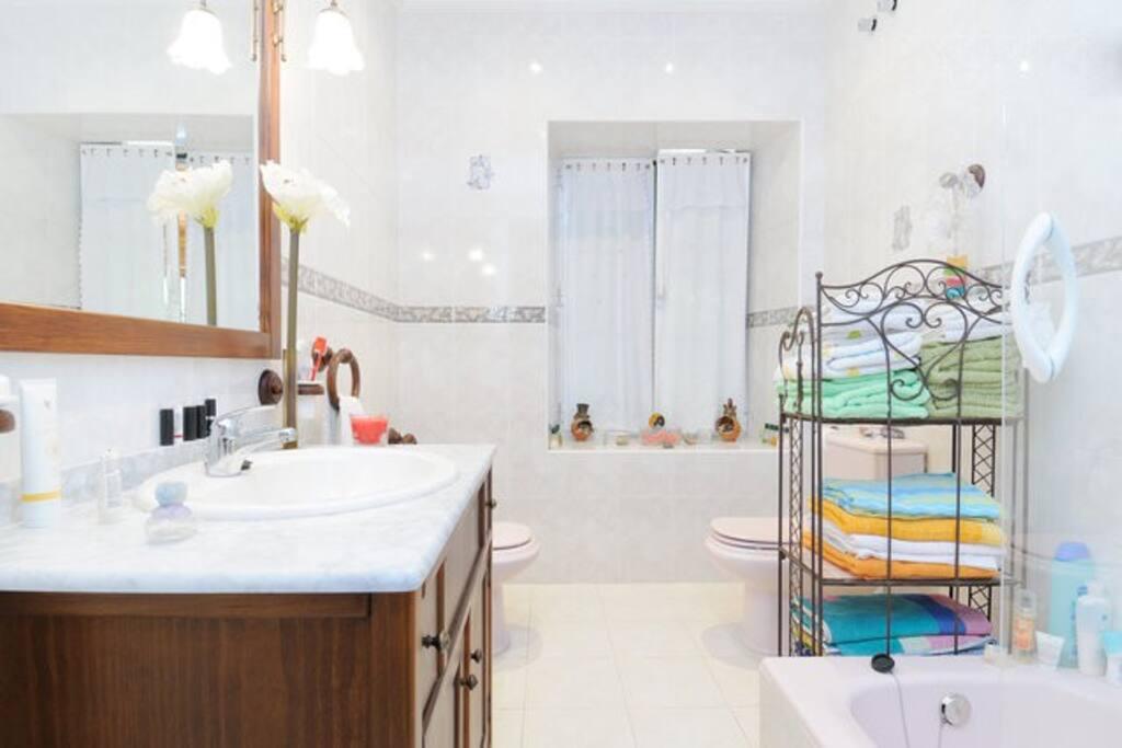 En la planta baja hay un segundo baño con bañera y ducha a disposición de los huéspedes.