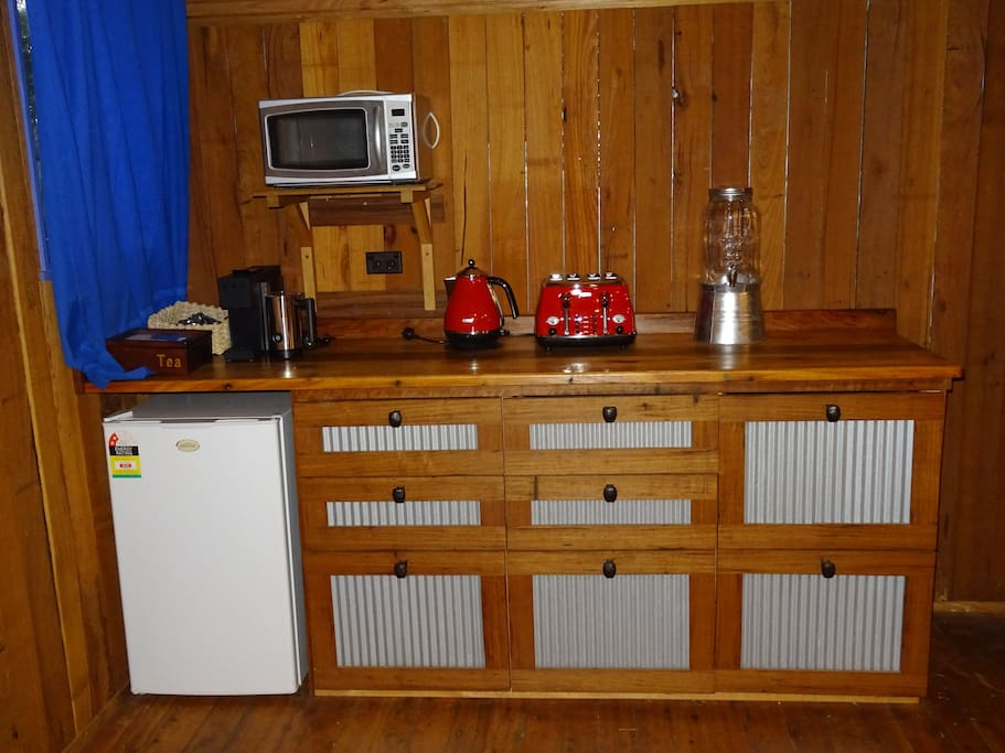 Hand-crafted kitchenette.