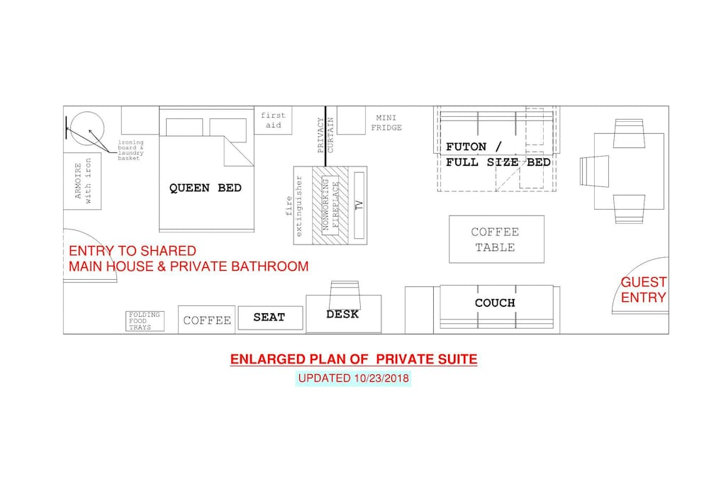 Enlarged Floor Plan of Private Suite