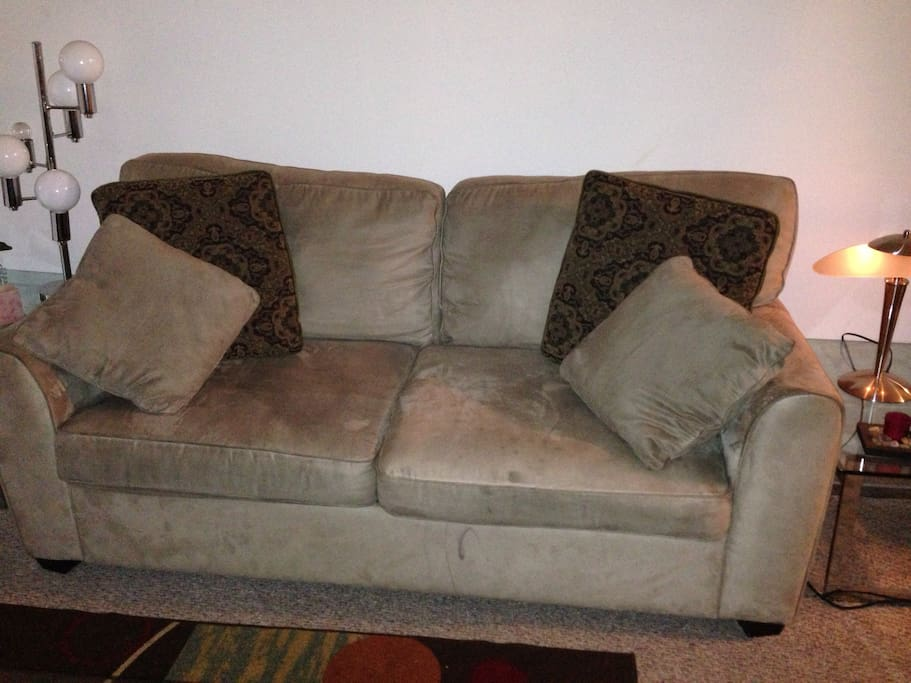 Comfortable, full size pull-out suede couch.