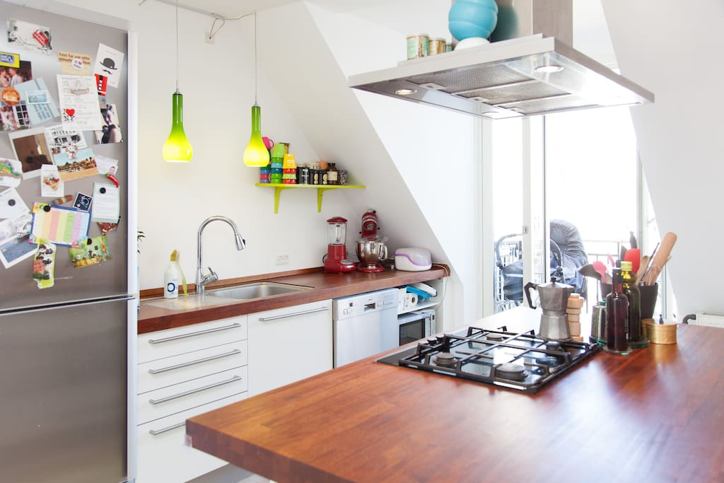 From the kitchen are doors to the balcony - perfect for a private barbecue!