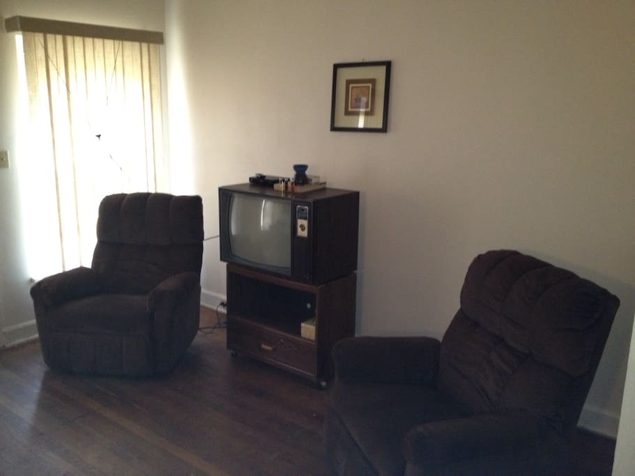 ...two comfortable recliners, TV and DVD player with USB flash drive port.