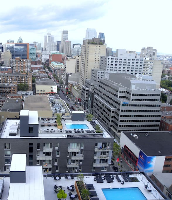 rooftop terrace view of downtown Montreal from Sainte-Catherine street!!!!
