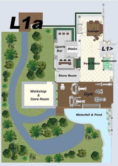 Level 1a. Signature open living area with pool table, table football, sportsbar and commercial standard gym