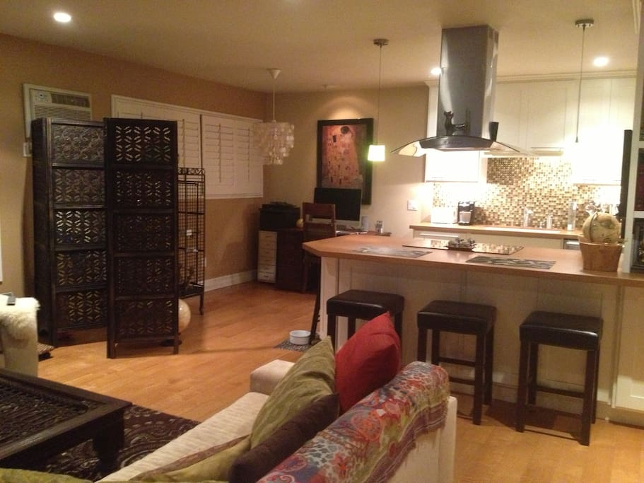 Another view of living room/kitchen/office space.