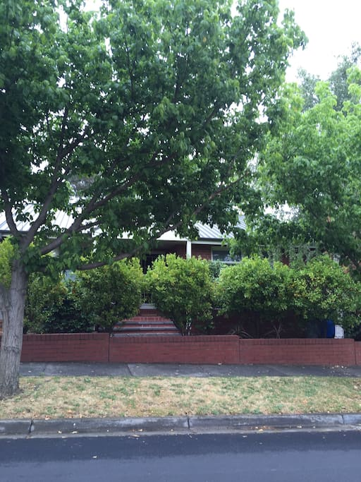 Front of house is shaded with lovely trees making it very private
