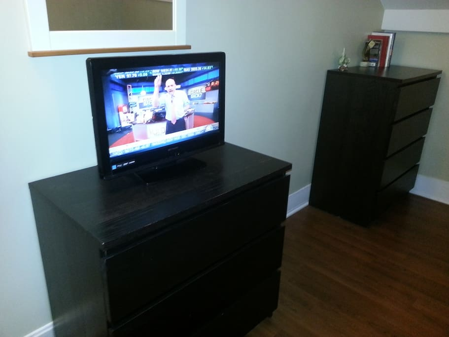 LCD TV with cable in bedroom