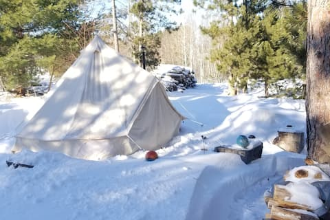 Hip, wood-Heated TIPI for Stars & Northern Lights