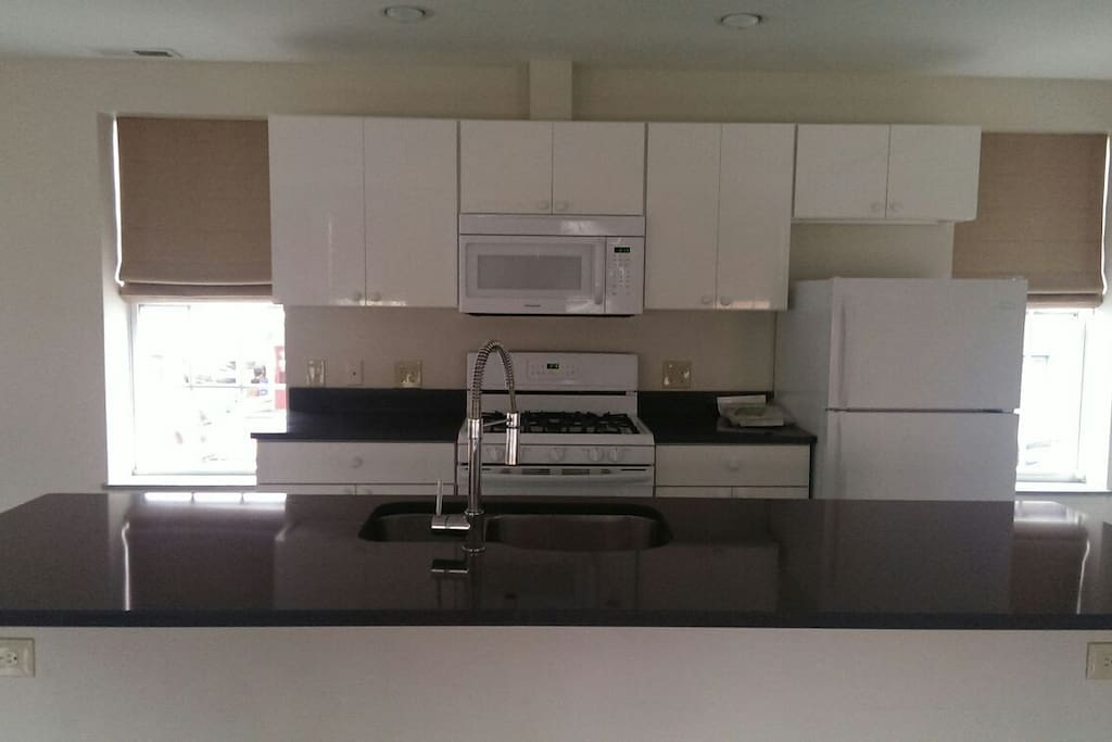 Solid surface counter tops and island, double stainless sink...high gloss cabinets.  Front windows overlooking Main St.