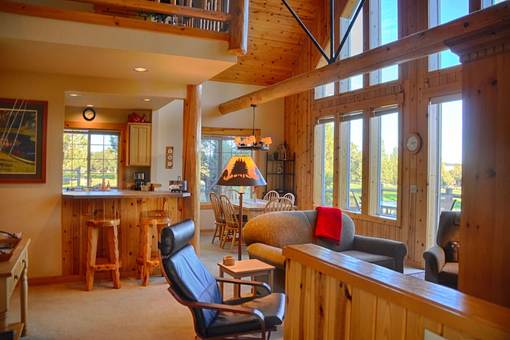 Two story tall great room with lots of natural light