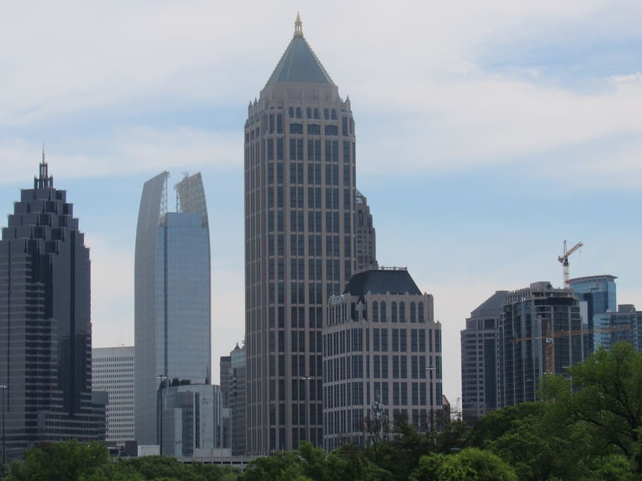 Looks out onto the Atlanta Skyline! Breathtaking view during the day and night.