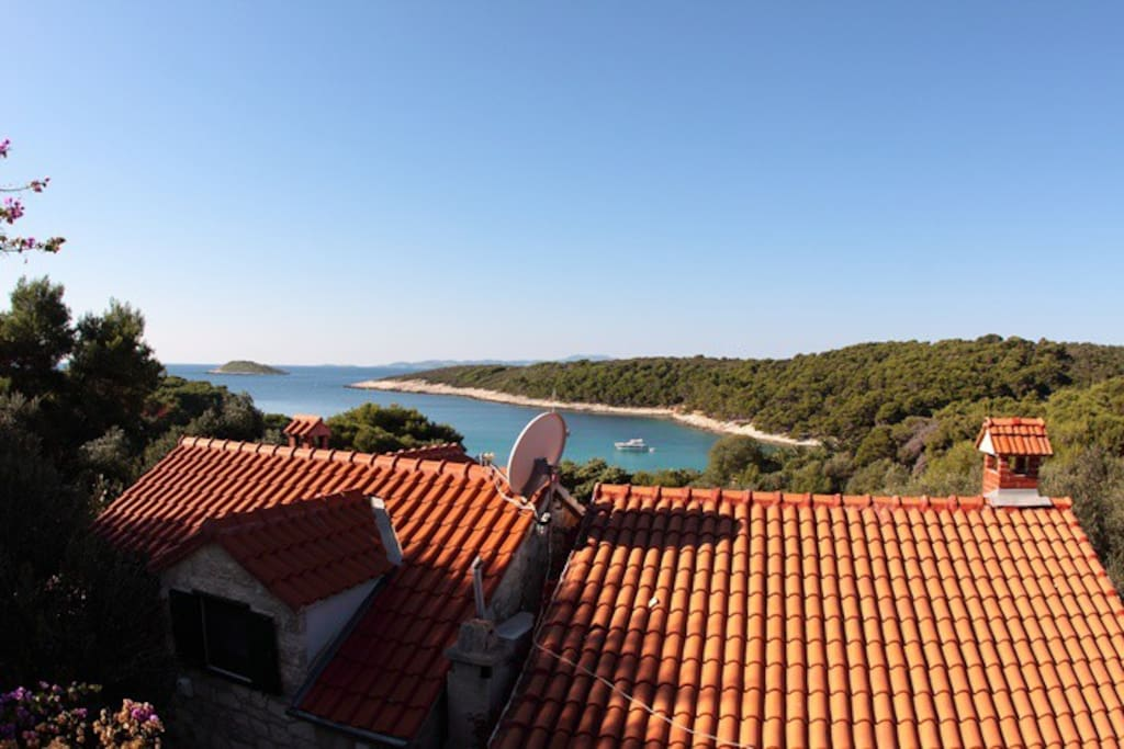 view from the terrace on the bay of Palmižana