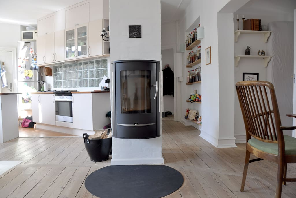 Kitchen and living room with woodburning stove