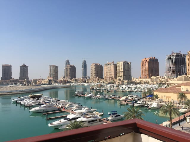 1br apt wt spectacular PEARL views - Doha