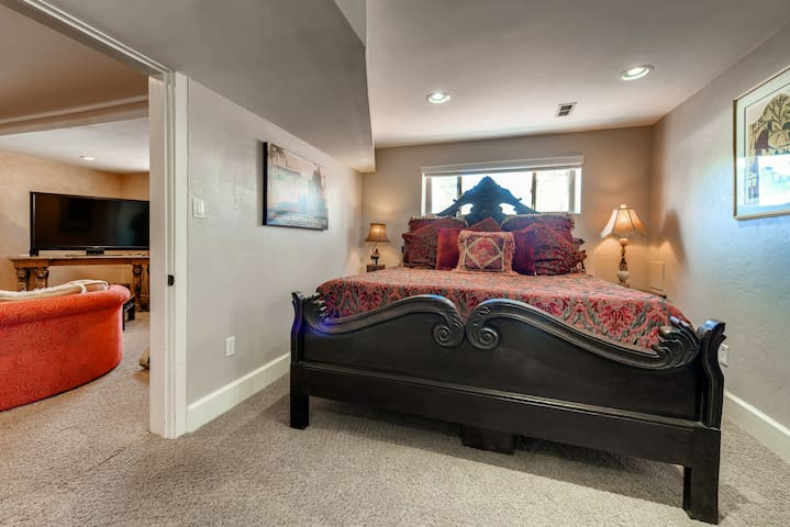 King Master suite with hand carved bed imported from India