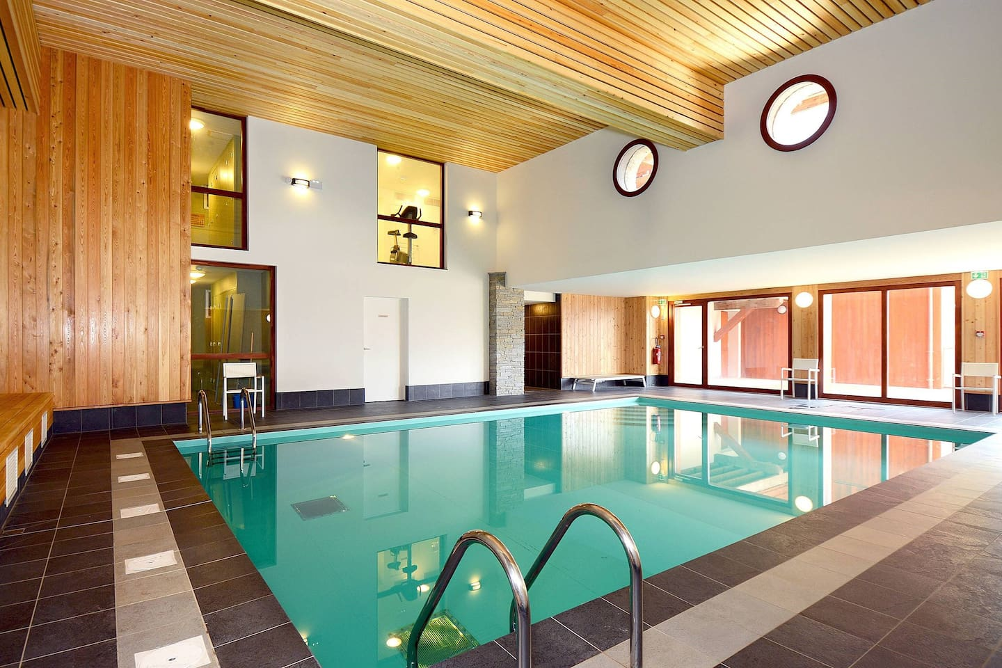 Dive into the indoor heated pool!
