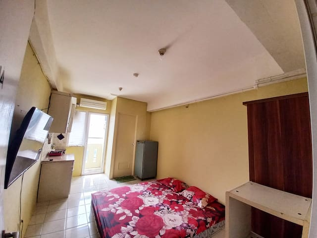 Our room 18m2 with double bed with tv, air conditioning and refrigerator