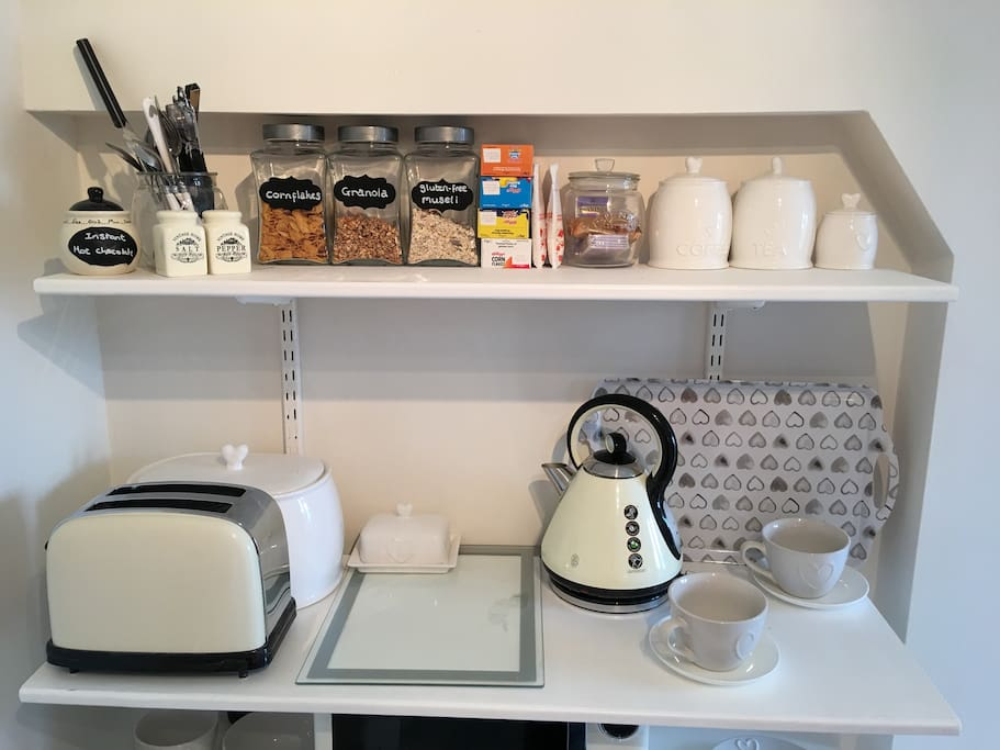 Selection of cereals, toast and pastries available on request