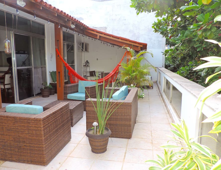 Penthouse Terrace: *Sprawling outdoor area with covered dining area *Open lounge area with assorted lounge furniture (sofa, armchairs, hammock, ottomans, sunbed) *Outdoor shower; kitchenette area; multiple lightings