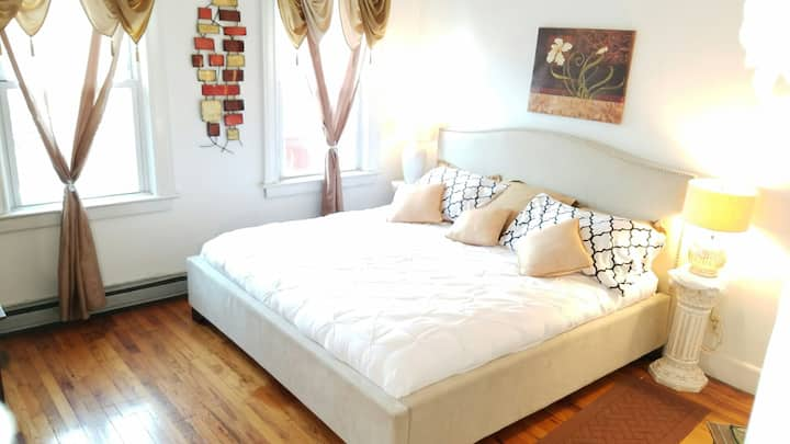 Spacious airy room perfect for two!
