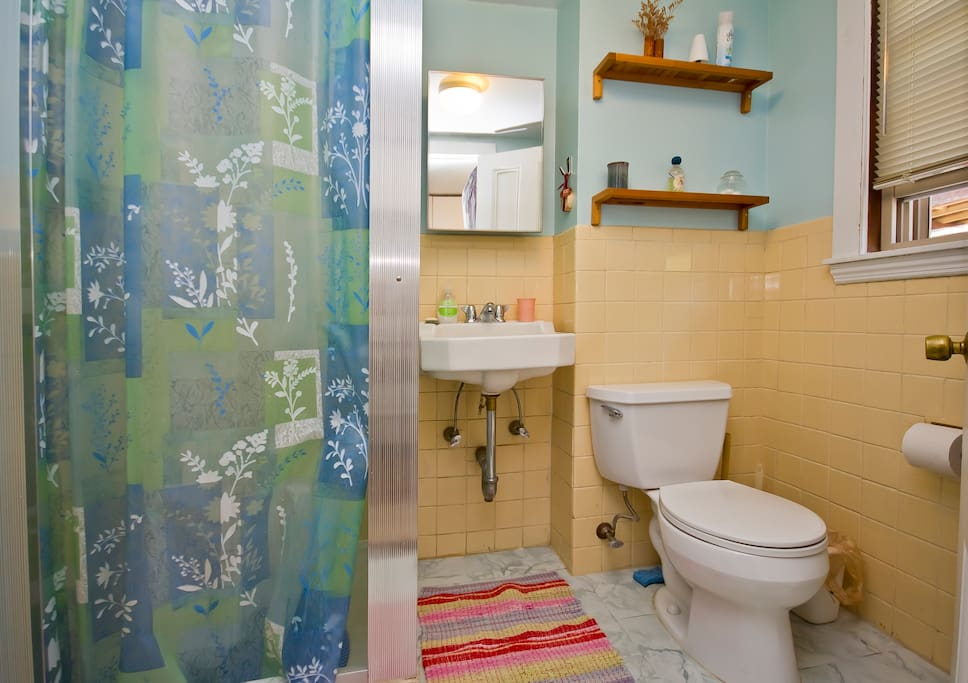 Stall shower with plenty of hot water and window for natural light and fresh air.