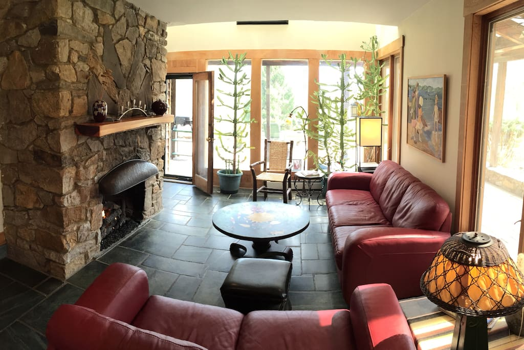 Gathering space with fireplace