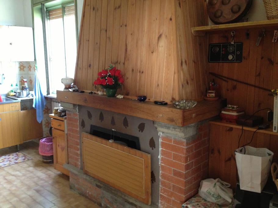 fire place & kitchen