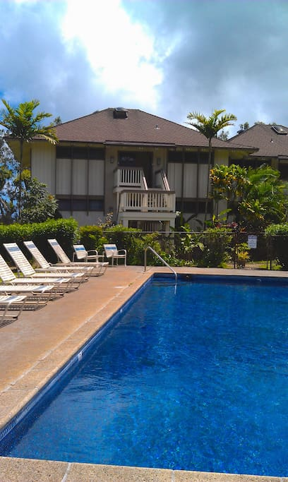 Your condo is just above the pool and bordering the Anini Beach trail and Prince Golf course.