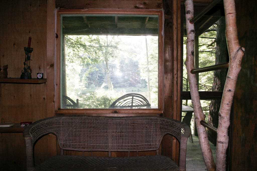 The window overlooking the lake.  To the right is the birch ladder to the sleeping loft.