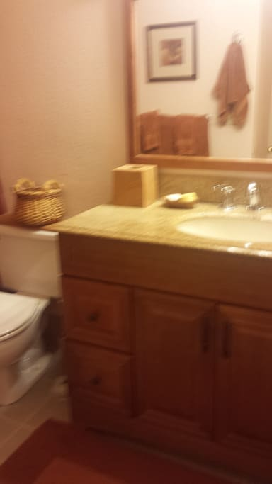 Nice granite counter top bathroom with matching bathroom set.