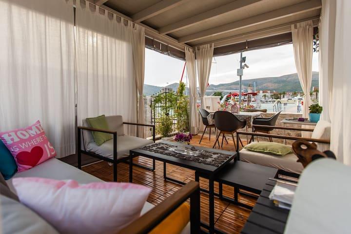 cabana with overlooking Trogir oldtown.