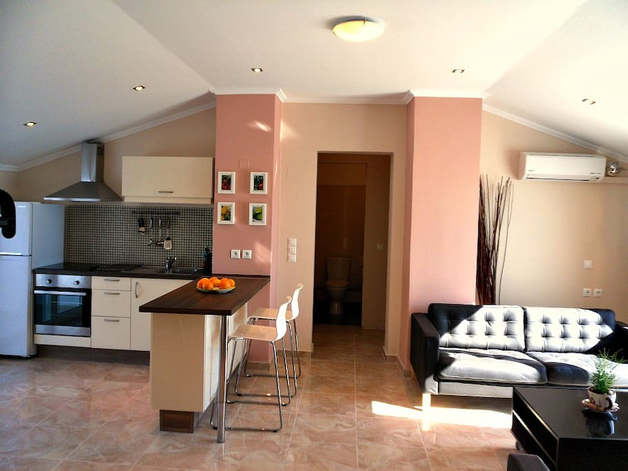 Penthouse living and kitchen area