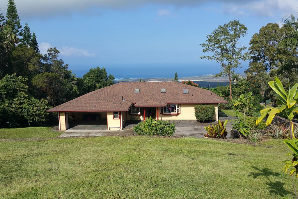 Large home on big area of land, tucked away from road, noise and traffic with Pacific ocean in background, very private.