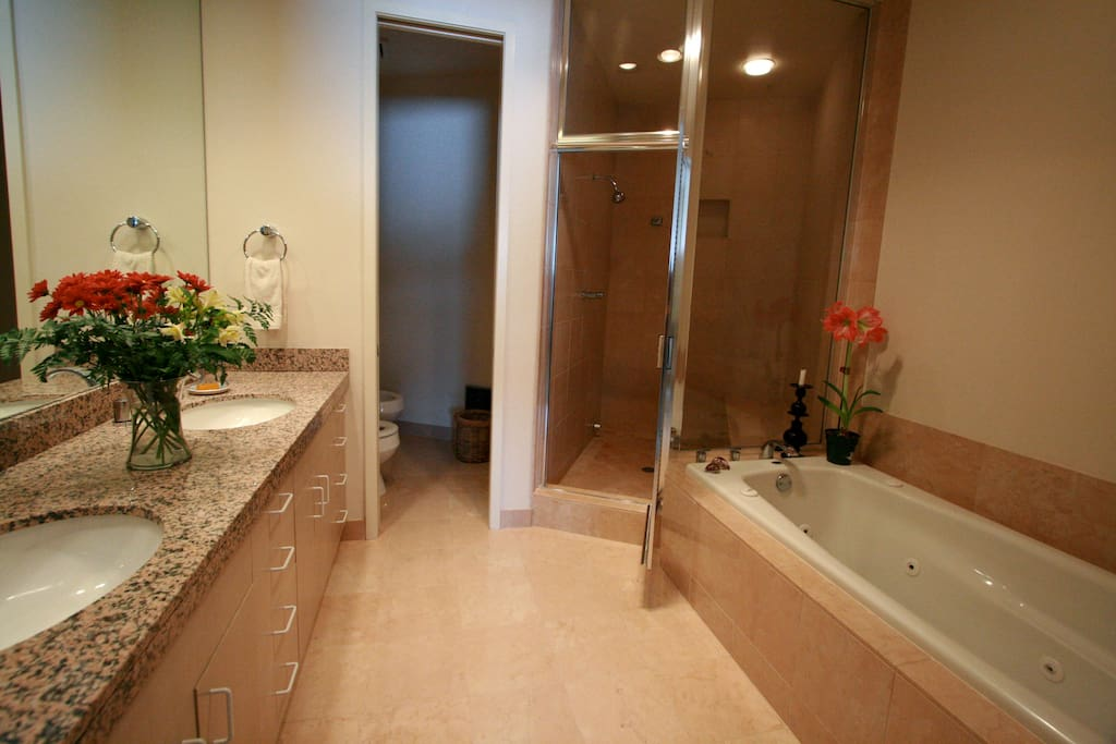 Each bedroom has it's own bathroom.  This one has a steam shower and Jacuzzi tub!