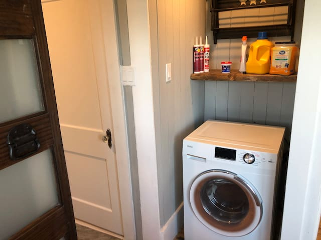 Washer dryer combo unit with a drying rack for your delicates.
