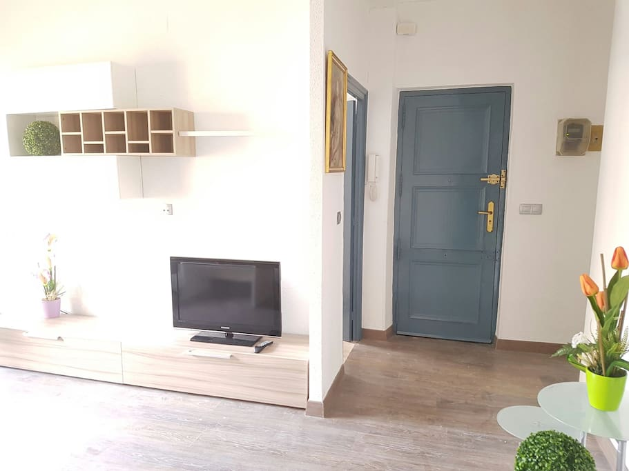 Part of the living-room and entrance door.