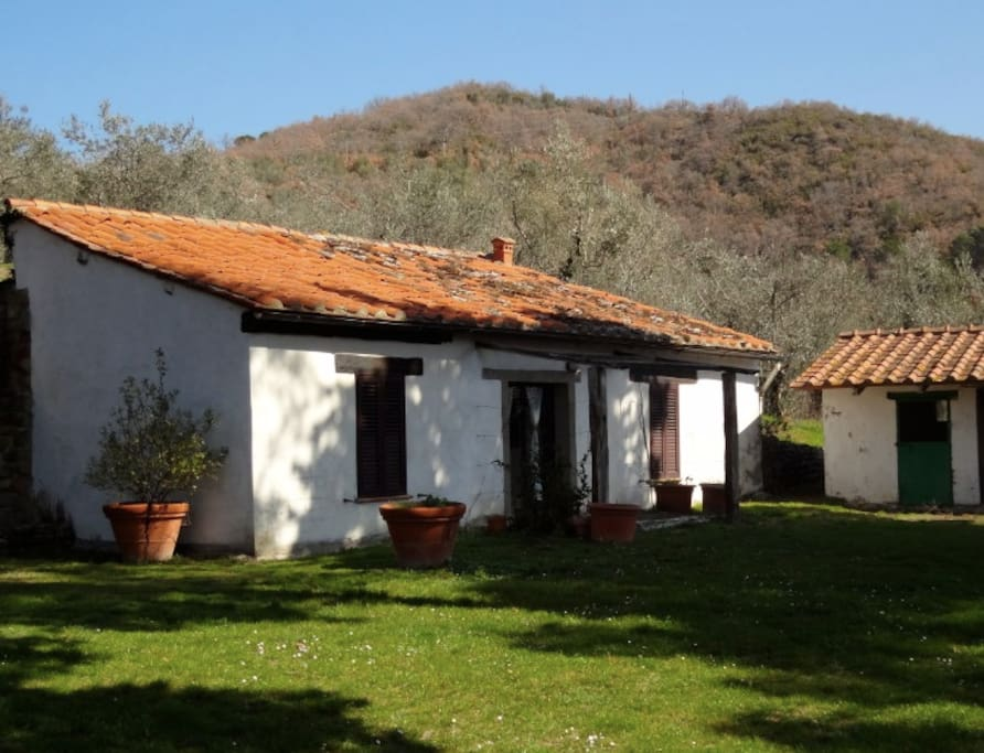 The white little villa, with the laundry room next to it