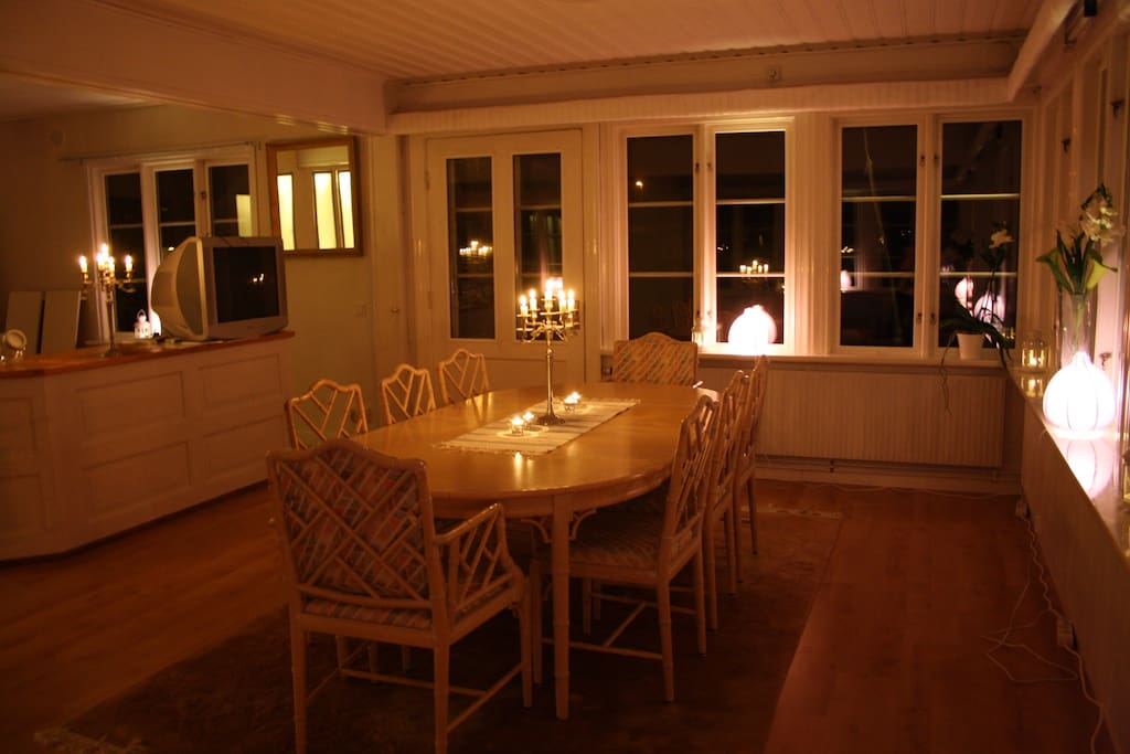 One of the dining room no the first floor. Picture take in the evening