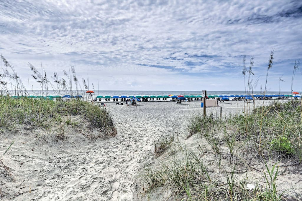 This vacation rental is ideally located to enjoy a lively beach getaway!