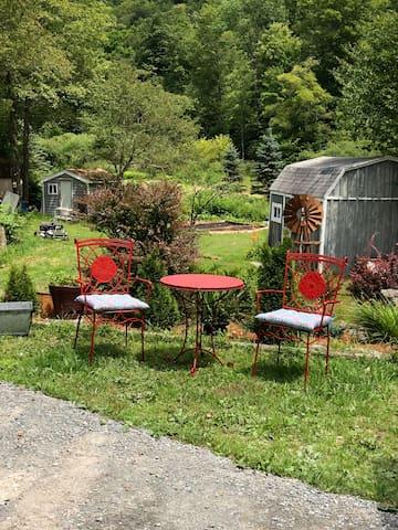 Outdoor seating near garden