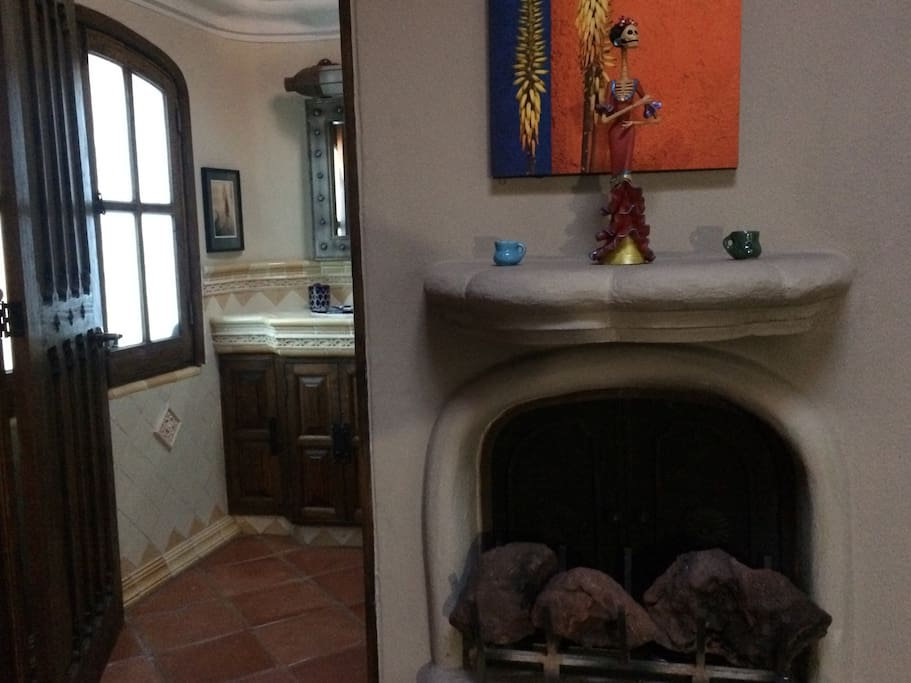 Master fireplace connects to master bath