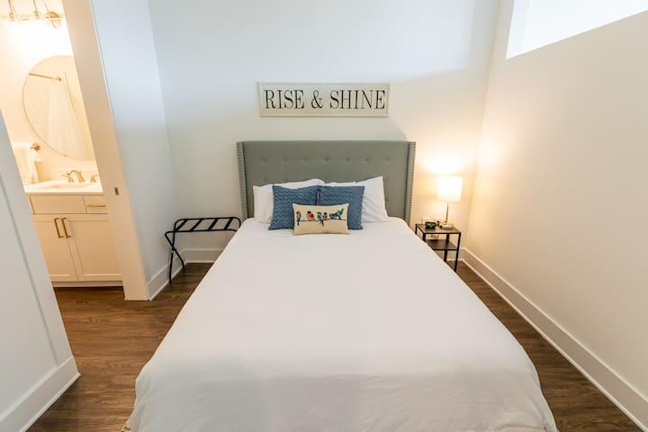 Queen size bed with premium mattress.