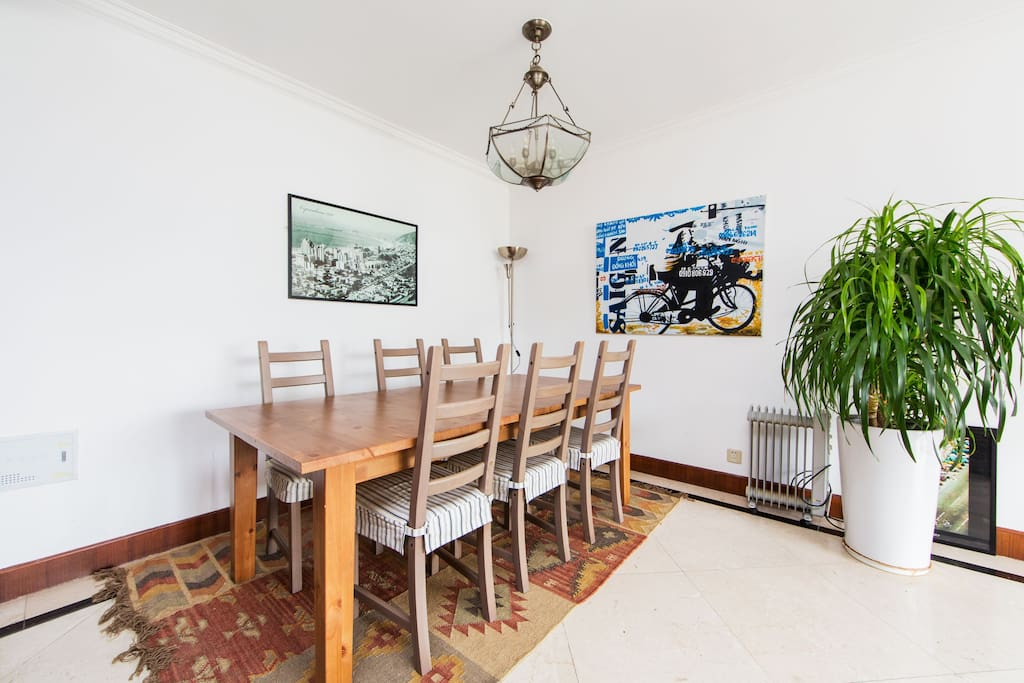 dining table, can seat 8
